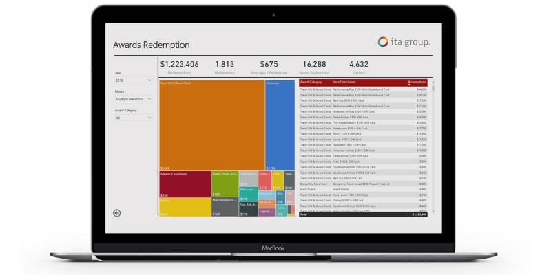 awards redemption data dashboard example on a laptop computer