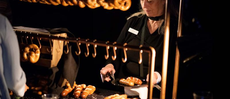 Pretzel bar food station at a holiday party event